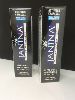 JANINA Ultra White Whitening Toothpaste ACTIVATED CHARCOAL 75 Ml X 2