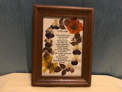 Dried Flower Art Picture In Frame To My Sister Signed By Lucille Norella