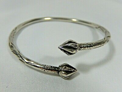 Antique Victorian Etruscan Sterling Silver Ornate Ball End By Pass Bracelet