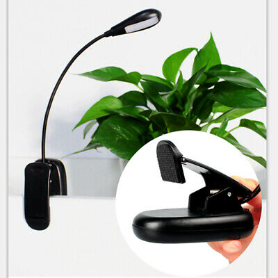 Flexible Neck Light Clip on USB 4 LED Book Lamp Reading Rechargeable H6T0L