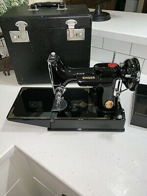 Vintage Black 1950's Singer Featherweight #221K Sewing Machine w/ Case