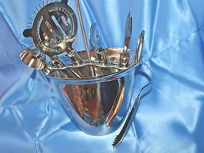 International Silver Company Stainless Steel Ice Bucket & Bar Tools