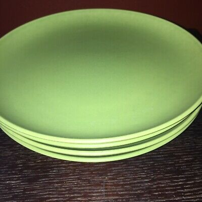 "(4) Hoganas Keramiks NILSSON Green Dinner Plates 10-1/4"" Made In Sweden"