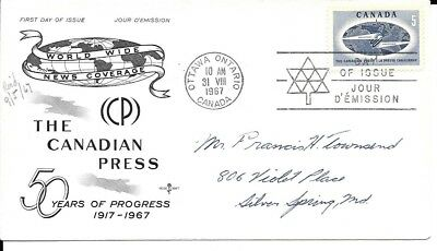 Canadian Press 50 year, FDC #473, Rose Craft cachet, Centennial Year Logo Cancel