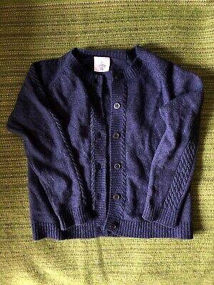 Pretty Wild Dark Blue Girls Knit Cardigan Wool Blend Sz 3 / 36 Months