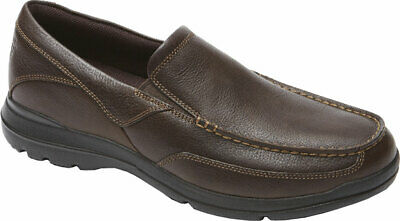 NEW Mens ROCKPORT City Play Two Brown LEATHER Slip On Loafer Shoes AUTHENTIC