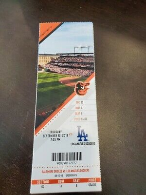 Baltimore Orioles Los Angeles Dodgers MINT Season Ticket 9/12/19 2019 MLB Stub