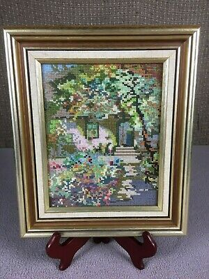 Retro Hidden Hobbit House Cottage - Custom Completed Cross Stitch