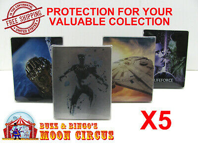5x 4K UHD STEELBOOK - NO J-CARD SIZE - CLEAR PROTECTIVE BOX PROTECTOR SLEEVE