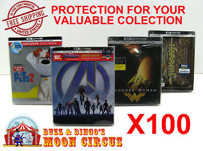 100x 4K UHD STEELBOOK - WITH J-CARD SIZE -CLEAR PROTECTIVE BOX PROTECTOR SLEEVE