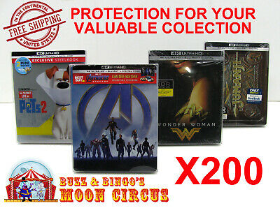 200x 4K UHD STEELBOOK - WITH J-CARD SIZE -CLEAR PROTECTIVE BOX PROTECTOR SLEEVE