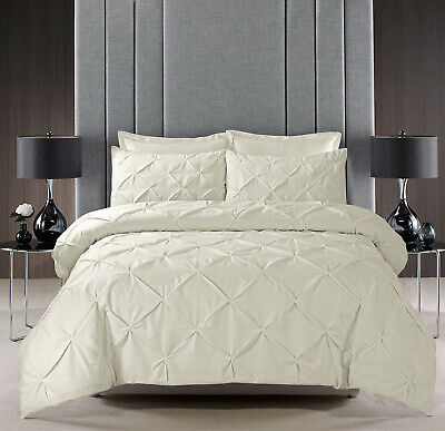 Cream Pintuck Duvet Set Quilt Cover Cotton Blend Bedding Double Super King Bed