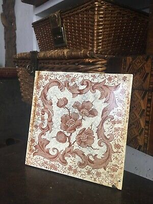 Victorian Tile 19th Century Fireplace Rococo Floral Design Sepia White Crackled