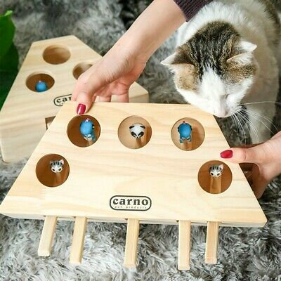 Pet Indoor Solid Wooden Cat Hunting Toy Interactive Holed Mouse Seat Scratch Toy