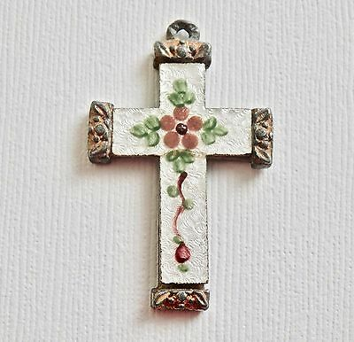 Victorian Cross Pendant White Guilloche Pink Green Enamel Religious Necklace