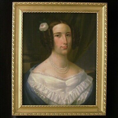 "Antique Baroque Oil Painting On Canvas With Frame ""Portrait Of Woman"" 1700-1800"