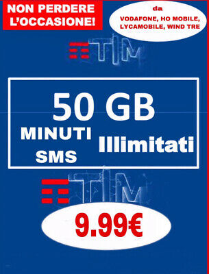 COUPON PASSA A TIM SPECIAL 50GB MINUTI ILLIM Da WIND VODAFONE TIM DECA GO