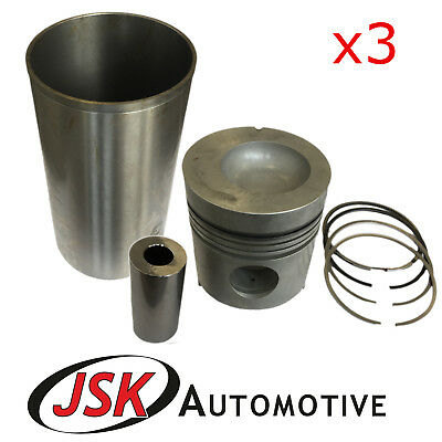 """3x 4.2"""" Pistons Liners Pins & Rings Ford Tractors 2000 2600 3000 3100 3600 3900"""