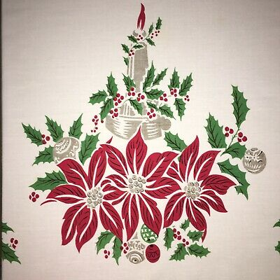 """Vintage Christmas Hand Painted Tablecloth Poinsettias Bells Candles 52"""" X 58"""""""