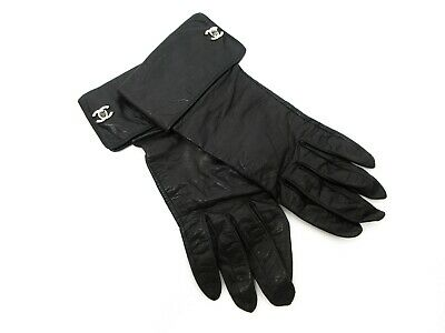Authentic CHANEL Leather Gloves Coco Mark Black Size 7 Great 73809