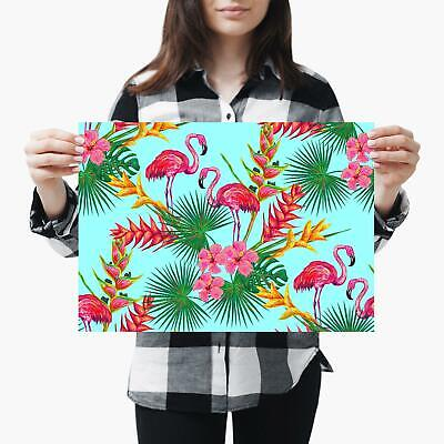 A3| Tropical Flamingo Flowers Jungle - Size A3 Poster Print Photo Art Gift #2708