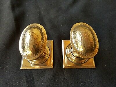 Antique Pair of Victorian Brass Dimpled Door Knobs Handles Furniture (EB315)