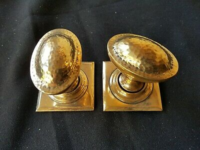 Antique Pair of Victorian Brass Dimpled Door Knobs Handles Furniture (EB316)
