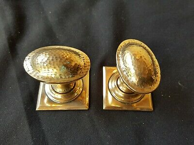 Antique Pair of Victorian Brass Dimpled Door Knobs Handles Furniture (EB313)