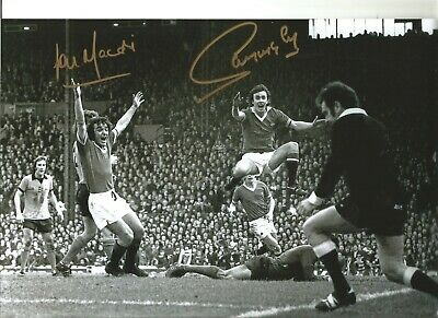 Football Autograph Sammy McIlroy Lou Macari Signed 12x8 in B&W Photograph JM143