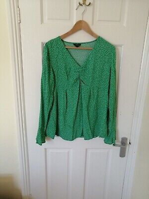 Topshop Green polka dot Blouse Maternity 12 Top. Great For Postpartum Too Bump