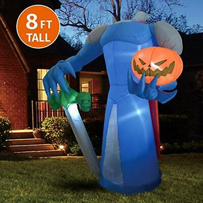Joiedomi Halloween 8 FT Inflatable Pumpkin Knight with Build-in LEDs Blow Up