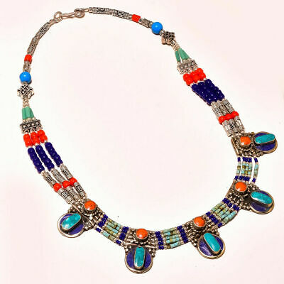 """Lovely Red Coral, Lapis Lazuli With Turquoise Nepali Gemstone Necklace 18"""""""