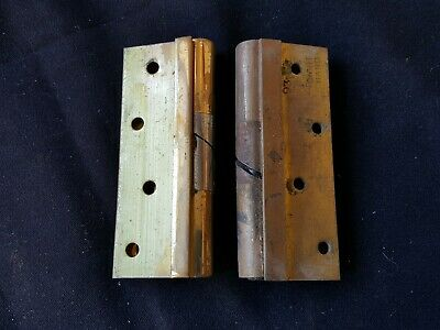 """Reclaimed Antique Pair of Brass & Steel Rise & Fall 4"""" Victorian Hinges (EB327)"""