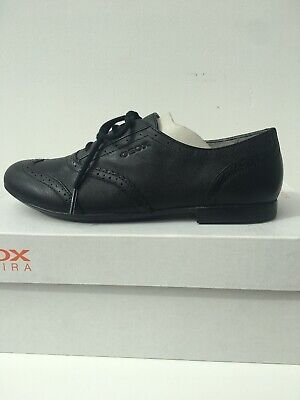 Girls Geox Black Lace Up Brogue Shoes BNIB Size 3