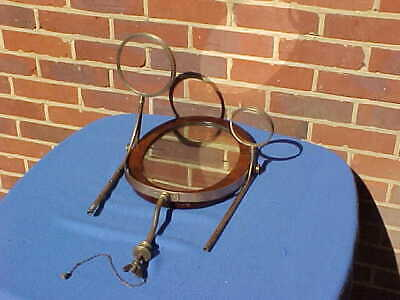 Antique Georgian Military Officers Campaign Mahogany & Brass Wash Stand Mirror