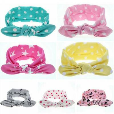 Children Rabbit Ears Headwrap Bow Knot Hair Band Baby Turban Floral Headband