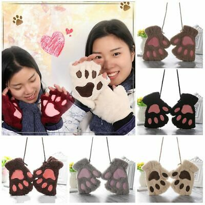 14Colors Girl Fluffy Lovely Warm Plush Bear Cat Paw  Fingerless Gloves