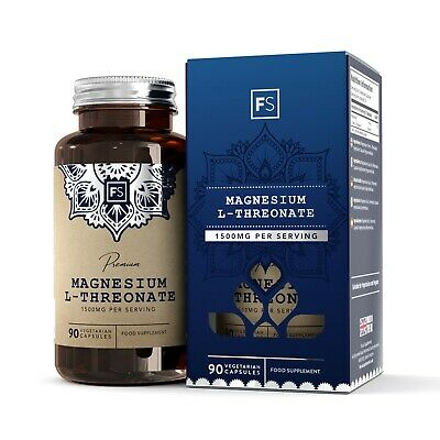Magnesium L-Threonate 500mg | 90 Capsules | High Absorption | No Fillers