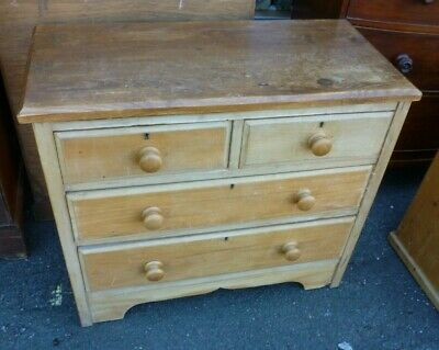 Antique Victorian Two Over Two Stripped Pine Chest Of Drawers
