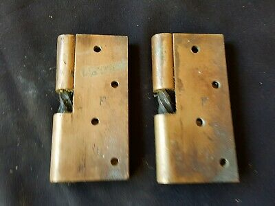 """Reclaimed Antique Pair of Bronze 4"""" Victorian Rise & Fall Hinges (EB332)"""