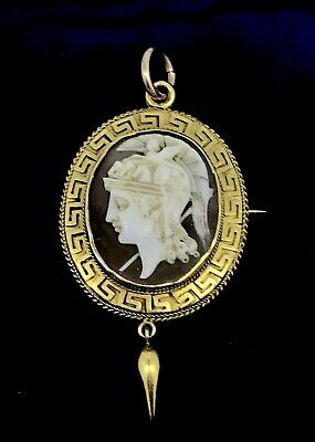 Victorian 18ct Brooch pendant cameo Shell Greek engravings gold tested elegant