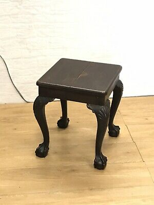 Late Georgian Early 19C Chippendale Style Mahogany Footstool on Ball & Claw feet