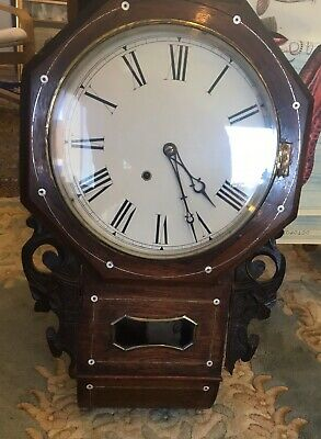 Lovely Antique Wall Clock Working Order With Key