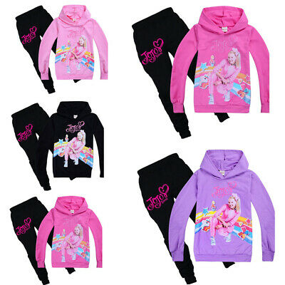 New Girls Jojo Siwa Hoodies Casual Cartoon Tops Kids Sweatshirt Clothes+trousers