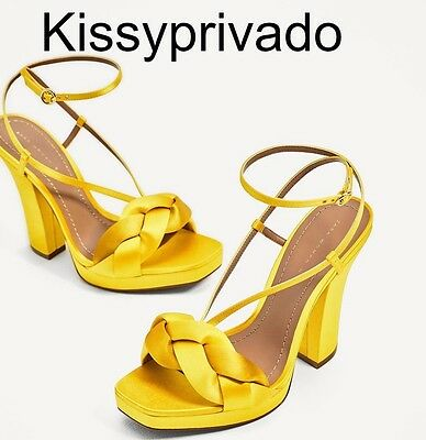 ZARA Yellow Gold High Heel Satin Sandals Strappy Shoes 37 4 BNWT 1551 201