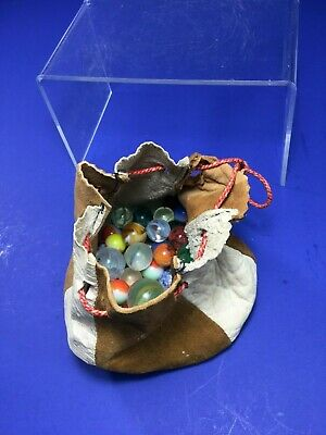 Vintage, 52 Mixed, Marbles, Loose In Old Leather Marble Bag