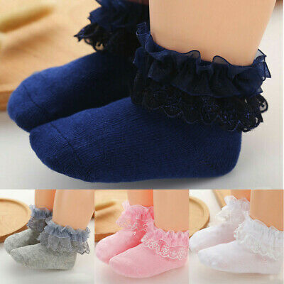 Newborn Baby Kids Girls Comfortable Lace Cute Cotton Sock Slippers Ankle Socks