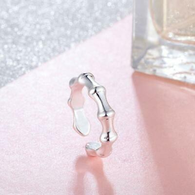 *UK Shop* 925 SILVER PLT ADJUSTABLE LUCKY BAMBOO BAND RING TOE THUMB BONE WRAP