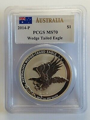 2014-P Australia $1 Wedge Tailed Silver Eagle - John Mercanti PCGS MS70