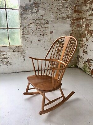 Vintage Ercol Rocking Chair | Mid Century Blond Wood Rocking Chair In Solid Elm